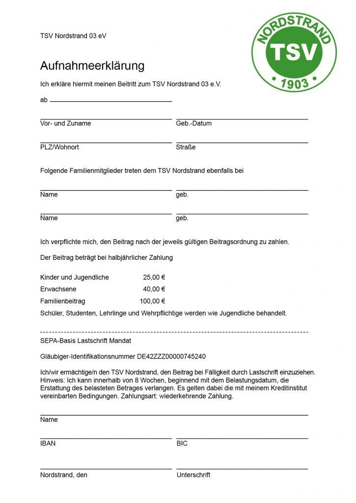 Mitglied werden · Aufnahmeerklärung